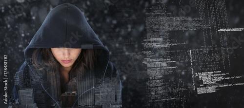 Fotomural  Composite image of female spy in hoodie