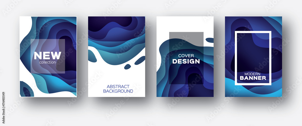 Fototapety, obrazy: 3D abstract background with paper cut shapes. .Layered tonnel wave background. Shadows box. Vector design layout for business presentations, flyers, posters