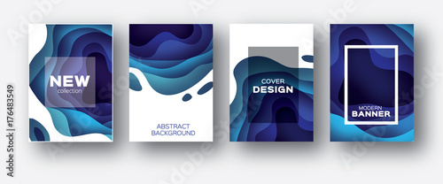 Poster Abstract wave 3D abstract background with paper cut shapes. .Layered tonnel wave background. Shadows box. Vector design layout for business presentations, flyers, posters