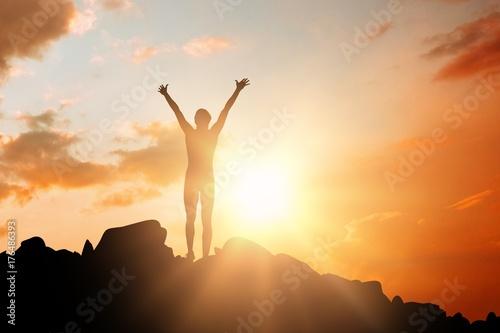 Fotografie, Obraz Composite image of sportswoman celebrating her victory
