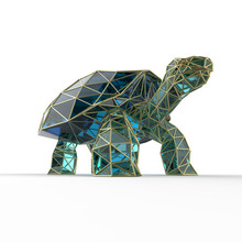 Shiny Luxury Crystal Sapphire Galapagos Tortoise With Edges Framed Golden Wire, Isolated