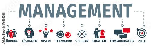 Fotografía Banner Management und Leadership - Vektor Illustration mit icons