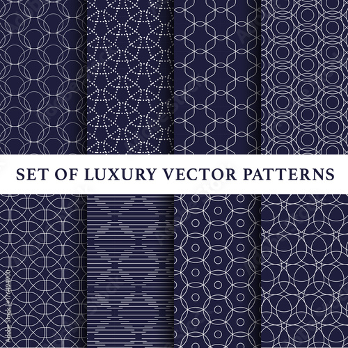 Photo  Navy asian abstract luxury vector patterns pack