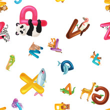 Animals Alphabet Background, S...