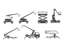 Lifting Machine Icons Set. Vector. Illustration