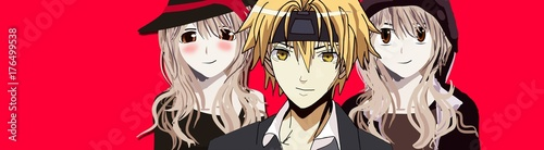 Anime Girl Anime Boy and Another Cute Anime Girl All with Blonde Hair 3 Anime Characters standing confidently in front of a red background with a Smile - 176499538
