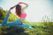 Sporty young woman doing yoga practice - concept of healthy life