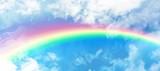 Fototapeta Tęcza - Composite image of graphic image of vibrant color rainbow