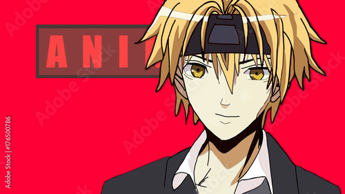 Anime Boy Blonde Hair Cartoon Character With In Suit Standing Front Of A Red Background
