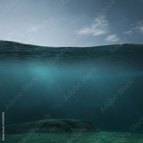 plakat Empty underwater background with copy space
