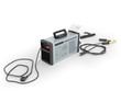 Inverter welding machine with cable for welding electrodes with a blue rear 3d render on a white background