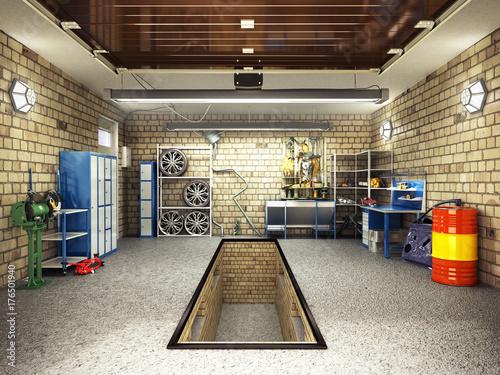 Front View of a Garage 3D Interior with Opened Roller Door 3D Rendering