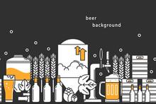 Beer. Vector Background. Bottl...
