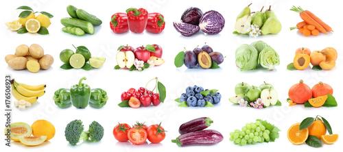 Obst und Gemüse Früchte Apfel Orange Zitrone Tomaten Farben Collage Freisteller freigestellt isoliert © Markus Mainka