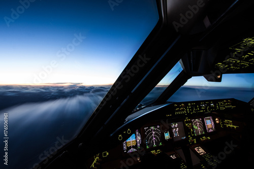 Fotografia Airliner Cockpit in Flight