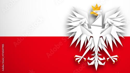 Obraz flaga Polski wektor - fototapety do salonu