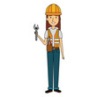 constructor woman with wrench avatar character