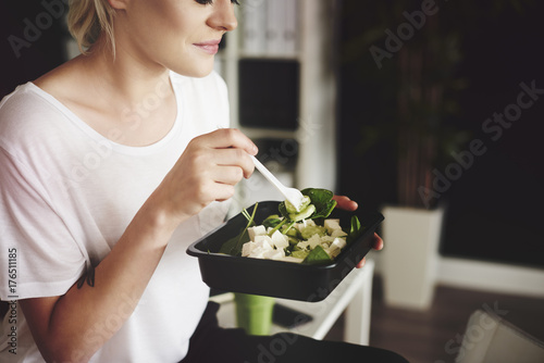 Businesswoman  try to maintain a healthy diet