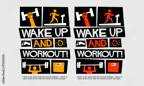 Wake up and workout! (Motivational Gym Poster Vector