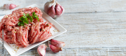 Staande foto Vlees Minced meat with vegetables and spices