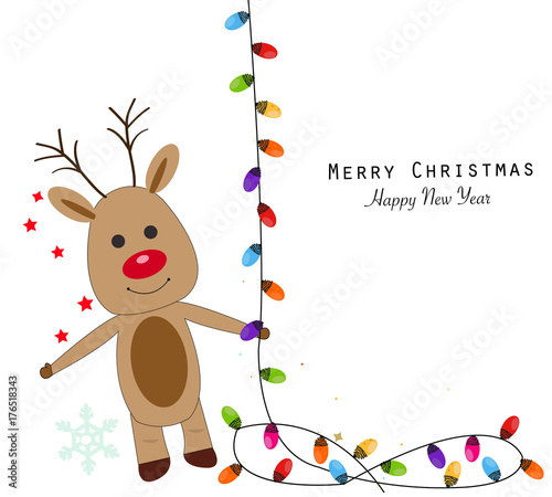 Wall Murals Bears Deer with colorful light bulbs. Merry christmas and happy new year greeting card