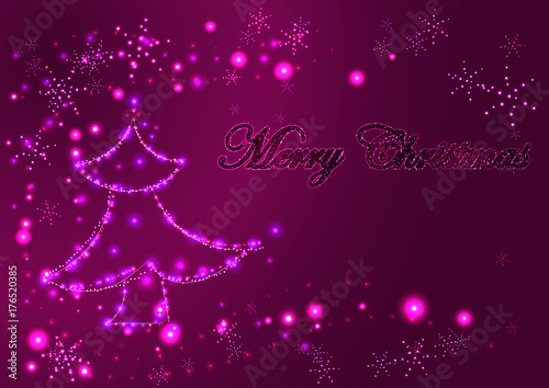 Plakat Bożenarodzeniowy rozjarzony jaskrawy kartka z pozdrowieniami, dekorująca rozjarzona choinka i płatki śniegu