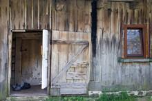 Facade With Open Door Old Wooden Rural House