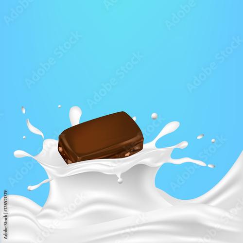 Plakat Kawałek czekolady w mleku, śmietanie, jogurcie. Wektor.