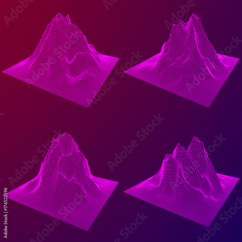 Fotografie, Obraz  Wireframe terrain vector background set