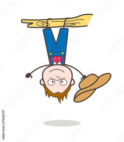 Funny Cartoon Cowboy Character Hanging Upside Down On Branch Vector