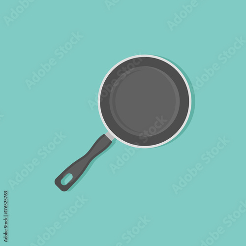 Foto Frying pan flat style icon. Top view. Vector illustration.