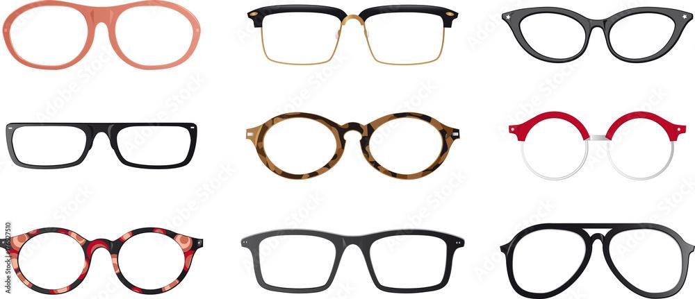 Fototapety, obrazy: Set of realistic eyeglasses frames, EPS 8 vector illustration, no transparencies, no mesh