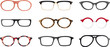 Set of realistic eyeglasses frames, EPS 8 vector illustration, no transparencies, no mesh
