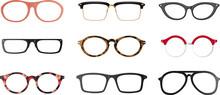 Set Of Realistic Eyeglasses Fr...