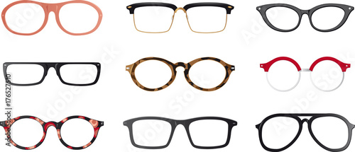 Cuadros en Lienzo  Set of realistic eyeglasses frames, EPS 8 vector illustration, no transparencies