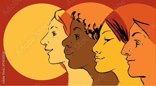Female Profiles Of Different Ethnicity As A Symbol For Women