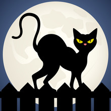 Vector Illustration Of A Black Cat Silhouetted Against The Moon, Walking Along A Fence.