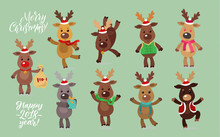 Santa's Reindeer Set. Vector Illustrations Of Reindeer Isolated On White Background.