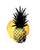 Stylowa ręcznie rysowane grunge ananas wektor wydruku z żółtym tle akwarela - 176540334