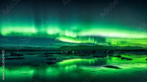 Keuken foto achterwand Noorderlicht Jokulsarlon Aurora