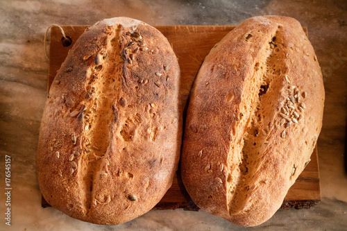 Rustic Italian Bread On A Wood Background