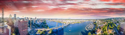Fototapeta Panoramic aerial view of Portland skyline and Willamette river obraz