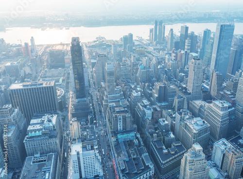 Keuken foto achterwand New York NEW YORK CITY - JUNE 9, 2013: Night aerial view of Midtown skyscrapers. New York attracts 50 million tourists every year