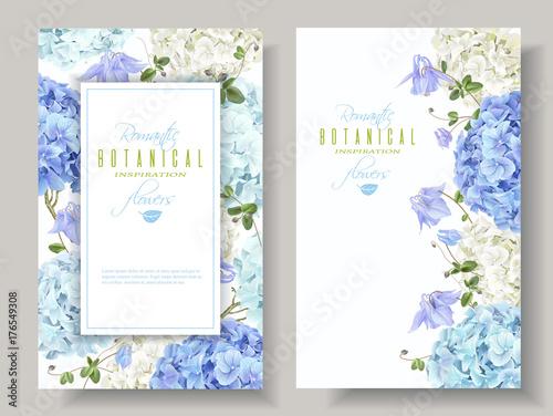 Hydrangea banners blue Fototapeta