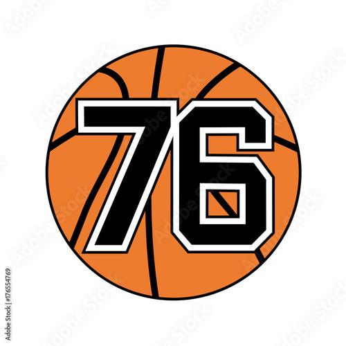Ball Of Basketball Symbol With Number 76 Buy This Stock Vector And