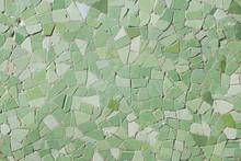 Closeup Of Green Tiles On Urban Wall