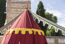 Military,medieval Tent Of Different Colors With Coats Of Arms And Blazons Of Noble Houses