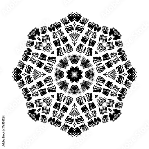 Vector Circular Pattern In Grunge Style Indian Knitted Pattern