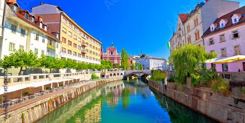 Foto  City of Ljubljana historic riverfont view