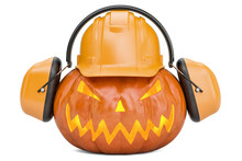 Halloween Pumpkin With Hardhat...